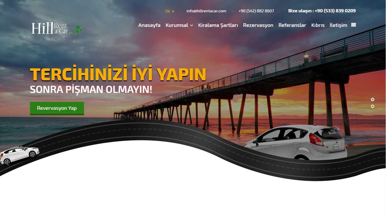 Hill Rent a Car Web Tasarım